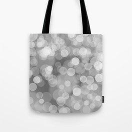 Black and White Silver Bokeh Tote Bag