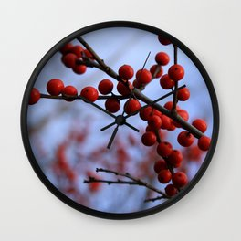 Red Winterberries Wall Clock