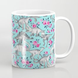 Dinosaurs and Roses - turquoise blue Coffee Mug