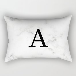 Black & White Marble with letter A Rectangular Pillow