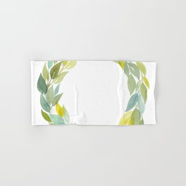 Green and Leafy Watercolor Wreath Hand & Bath Towel