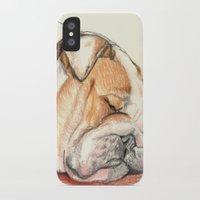 english bulldog iPhone & iPod Cases featuring English bulldog Alfie by Pendientera