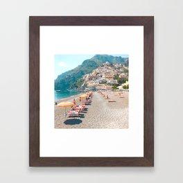perfect beach day - Positano, Italy Framed Art Print