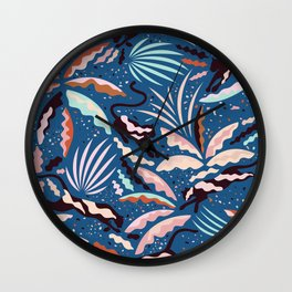 Exotic Wilderness on Blue / Panthers and Plants Wall Clock