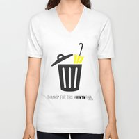 himym V-neck T-shirts featuring Thanks for this HIMYMfinal by Violet's Corner