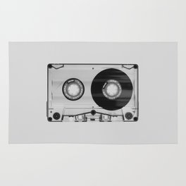 Vintage 80's Cassette - Black and White Retro Eighties Technology Art Print Wall Decor from 1980's Rug