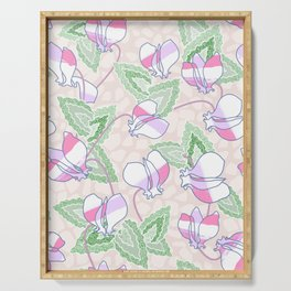 Cyclamen Spring Flowers Seamless Print Serving Tray