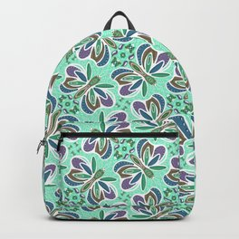 Field of Aqua Turquoise  Butterflies , Purple Wings Patterns in Geometric Formation with Flowers Backpack