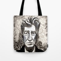 david lynch Tote Bags featuring David Lynch by Emma Ridgway