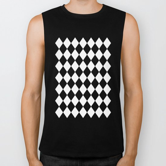 Diamonds (Black/White) Biker Tank
