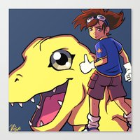 digimon Canvas Prints featuring Digimon by Viga Victoria Gadson