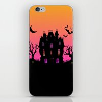 haunted mansion iPhone & iPod Skins featuring Haunted Silhouette Rainbow Mansion by rainbowdreams