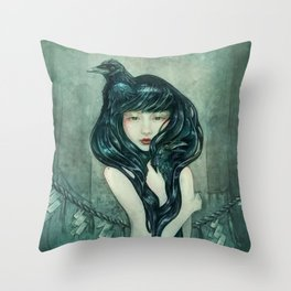 Oracle of the sodden raven Throw Pillow