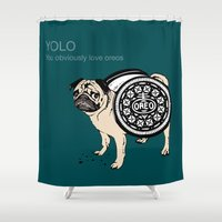 yolo Shower Curtains featuring YOLO by Huebucket
