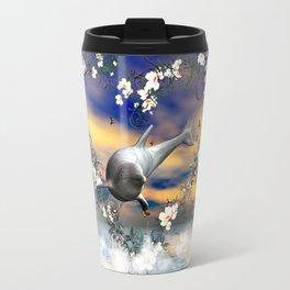 Dolphin jumps by a heart Travel Mug