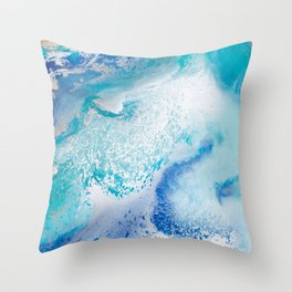 Into the Blue Lagoon Throw Pillow