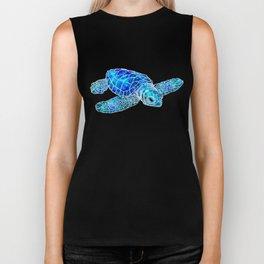 Sea Turtle Watercolor Art Biker Tank
