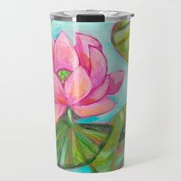 Koi Fish in Lotus Lily Pad pond painting by Tascha Parkinson Travel Mug