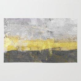 Yellow and Grey Abstract Painting - Horizontal Rug