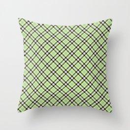 Lime Plaid Rug Pattern Throw Pillow