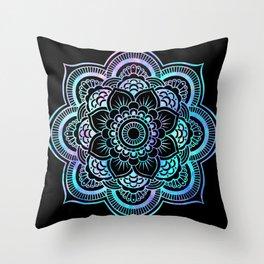 Galaxy Space Mandala Black Pink Lavender Aqua Throw Pillow
