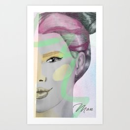gray woman and colors Art Print