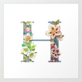 Floral Monogram Collection H Art Print