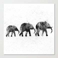 Elephants 2, black and white Canvas Print