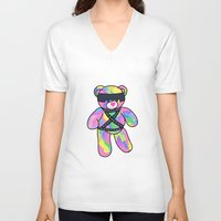 bondage V-neck T-shirts featuring Rainbow Bondage Bear by clevernessofyou