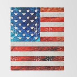 American Flag Art - Old Glory - By Sharon Cummings Throw Blanket