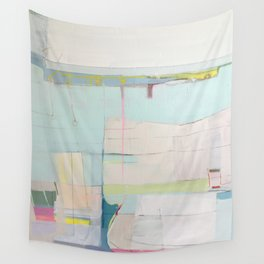 """""""over flow"""" abstract painting in robin's egg, mint, blush, white, and yellow Wall Tapestry"""
