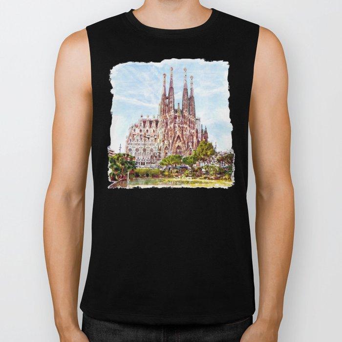 La Sagrada Familia watercolor Biker Tank