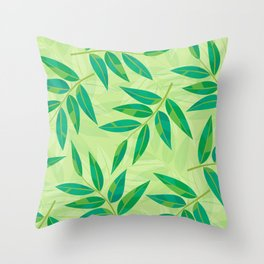 Variegated Leaves on Soft Spring Green (pattern) Throw Pillow