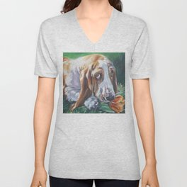 Beautiful Basset Hound dog portrait art an original painting by L.A.Shepard Unisex V-Neck