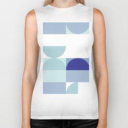 Minimal Bauhaus Semi Circle Geometric Pattern 3 - Blue #buyart #society6 #minimalart Biker Tank