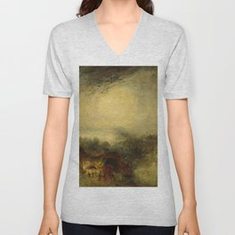"J.M.W. Turner ""The Evening of the Deluge"" Unisex V-Neck"