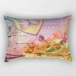 Beautiful Birds & Cages Colorful & Vintage Rectangular Pillow