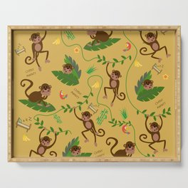 jumping cheeky monkeys yellow 03 Serving Tray