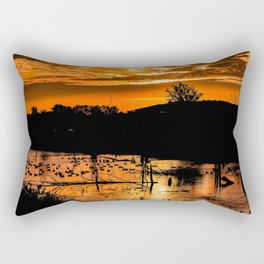 Silhouetted Canadian Geese taking a break in a pond in Ann Arbor, Michigan Rectangular Pillow