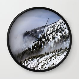 Mid Century Modern Round Circle Photo Graphic Design Winter Ski Hills Wall Clock