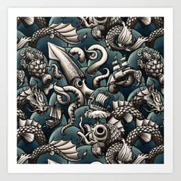 Sea Monsters Art Print