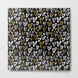 Black White and Gold Hearts Metal Print