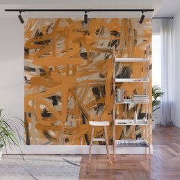 Orange & Taupe Abstract Wall Mural