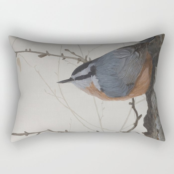 Red-breasted Nuthatch at Yellowknife River Toss Pillow by ShawnaLampiLegaree - X-Large (28