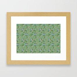 Vintage Florals - Green Framed Art Print