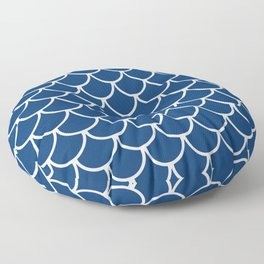 Navy Blue Fish Scales Pattern Floor Pillow