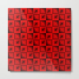 Fashionable large glare from small red intersecting squares in gradient dark cage. Metal Print