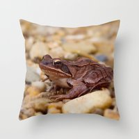 frog Throw Pillows featuring Frog by MehrFarbeimLeben