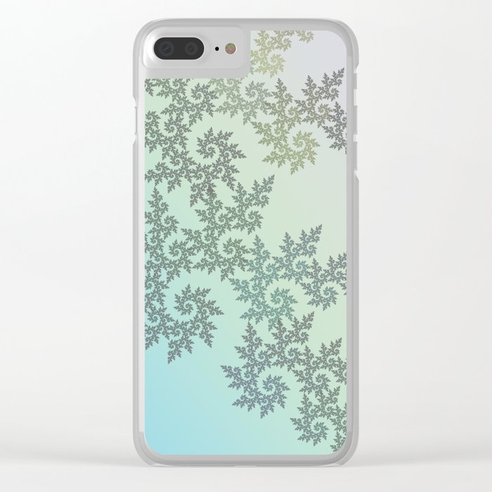 Curly frost patterns on a pastel background Clear iPhone Case