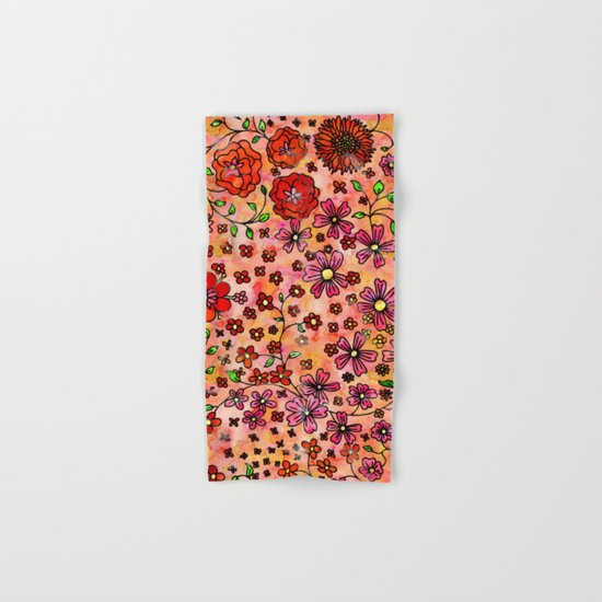 Orange Small Flowers Hand & Bath Towel